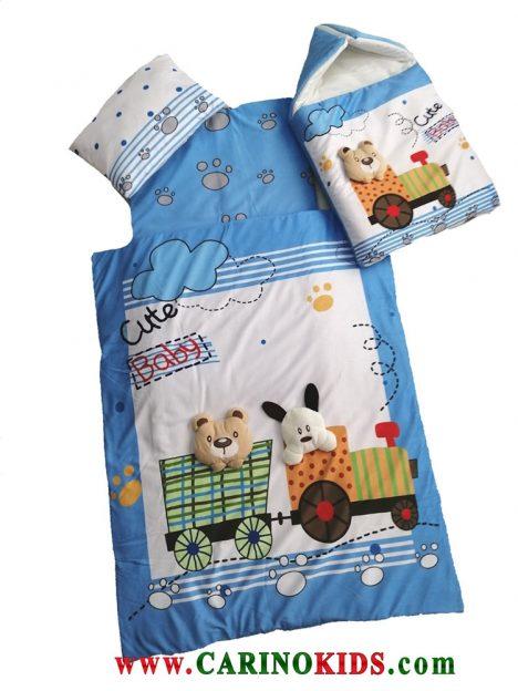 سرویس خواب کودک چهار تکه کیوت بیبی طرح قطار رنگ آبی
