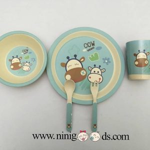 ظرف غذای کودک بامبو ست 5 تکه مدل BM459رنگ سبزآبی