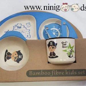 ظرف غذای کودک بامبو ست 5 تکه مدل BM467 رنگ آبی