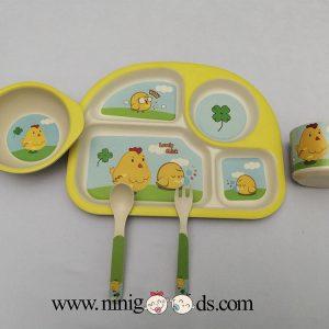 ظرف غذای کودک بامبو ست 5 تکه مدل BM451