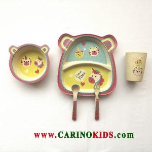 ست 5 تکه غذا خوری بامبو مدل Horse&cat
